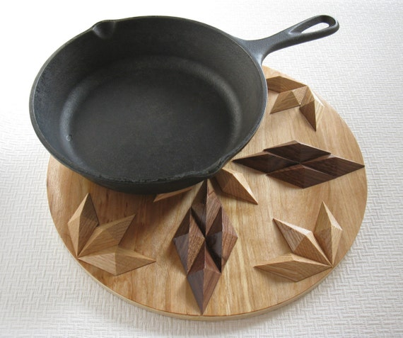 Decorative Wood Trivet. Round wooden potholder, centerpiece or hot pad