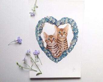 Kitten art print by Fiammetta Dogi 5x7 - Floral garland - Victorian heart - forget me not flowers