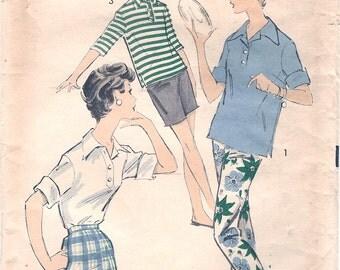 Nice Vintage 1950s Advance 8510 Teen Sports Shirt, Slim Pants and Bermuda or Shorter Shorts Sewing Pattern B34 W26