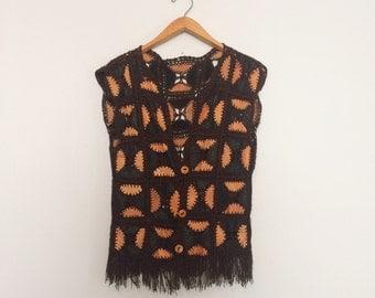 Vintage Crochet & Leather Vest / Crochet Boho Hippie Vest / 80s Patchwork Vest