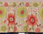 Retro Flower Valance .  Kitchen Valance . Coral and Lime Green . Handmade by Pretty Little Valances