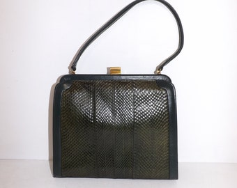 Vintage 1950s real green snakeskin and leather kelly handbag grab bag