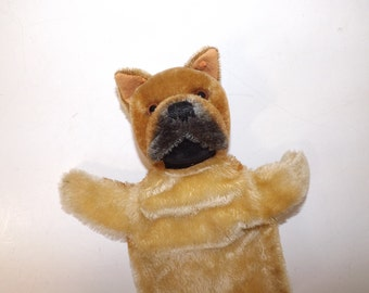 Vintage 1950s Steiff boxer or French bull dog puppet mohair soft toy collectable
