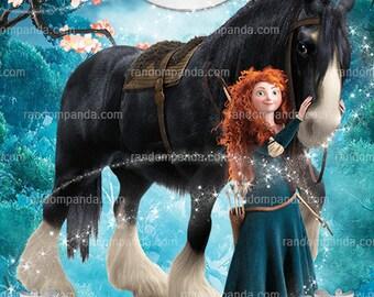 Brave Thank You Card, Disney Princess Party, Princess Merida Thank You Note