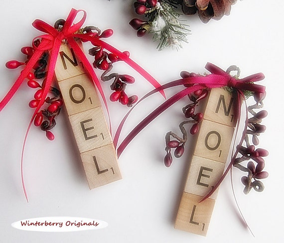 NOEL Christmas Ornament - Scrabble Ornament - stocking stuffer, package tie-on, co-worker gift