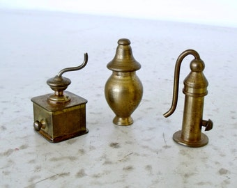 3 Brass Miniatures Small Collectibles Coffee Grinder Gas Pump Urn