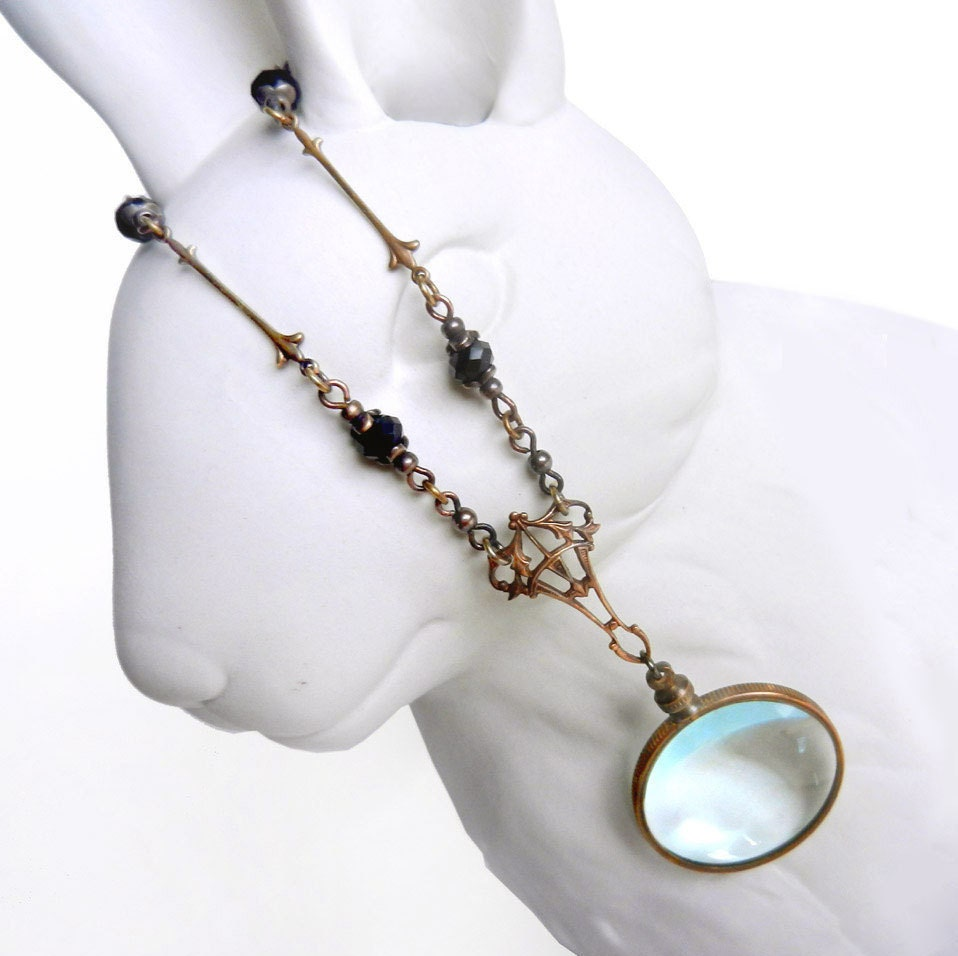 magnifying glass necklace monocle glass lens necklace