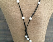 Long LEATHER & FRESHWATER Pearl Tassel Necklace - 15 Pearls, Choose Leather-Black Leather Shown, Choose Length of Necklace, Made in USA