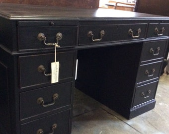 Black Painted lawyers Mahogany Desk