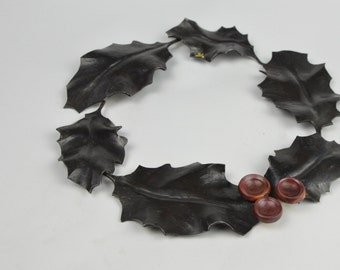 Little metal holly wreath, steel wreath, copper berry's,one of a kind,