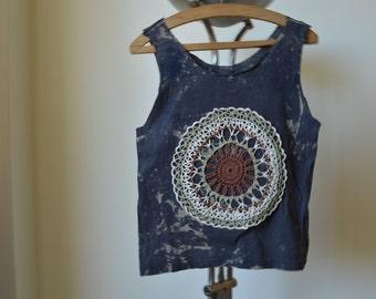 Handmade shirt, Vintage lace shirt, Tie dye shirt, lace tank top, tie dye tank top, handmade clothes, unique shirt, dark shirt,handmade lace