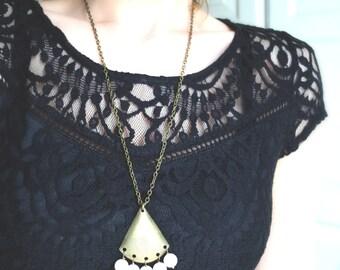 Boho chic necklace. Antique brass pendant with rose quartz. Ready to ship. Gypsy necklace. Geometric pendant. Boho style