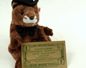 Punxsutawney Phil Punxsutawney Ground Hog Souvenir Wooden Nickel 1949 Centennial Celebration Gobblers Knob Pennsylvania