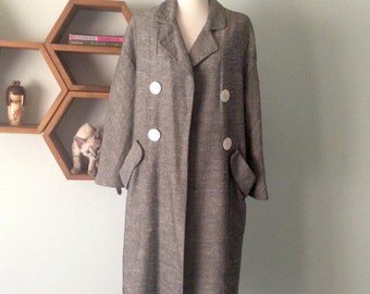 SALE 1960s Vintage Overcoat Grey tweed with huge buttons M L
