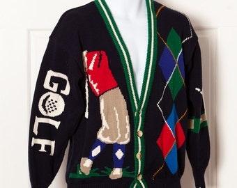 Men's Vintage 90s GOLF Cardigan Sweater - C. F. Hathaway - M