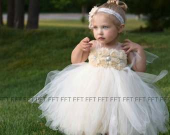Champagne Lace Ivory Flower Girl Tutu Dress