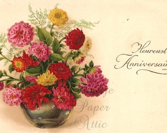 Red Pink & Yellow Chrysanthemums Mums in Green Glass Vase Antique French Postcard Chromolithograph from Vintage Paper Attic