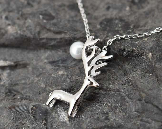 Deer Necklace, Deer Pendant, Deer Jewelry, 925 Sterling Silver, Pearl Necklace Pendant, Bridesmaid Gift,Bridesmaid Necklace