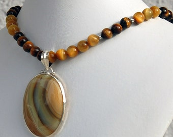 Agate Wave Pendant with Tiger Eye Necklace, Asymmetrical Statement Necklace