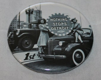 Nothing Stops Detroit Michigan Motor City Pinback Button or Magnet 2.25""