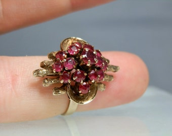 Vintage Jewelry Gold Ring 14k Yellow Gold Pigeon Blood Ruby Ring Princess Tiered Design Size 5 Gift Quality Estate Ring DanPickedMinerals