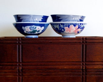 Japanese rice bowl assorted group of four