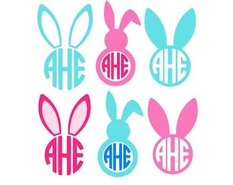 Easter Bunny Svg, Easter Bunny Monogram Svg, Circle Monogram Frames Svg, Cricut Cut Files, Studio Cut Files