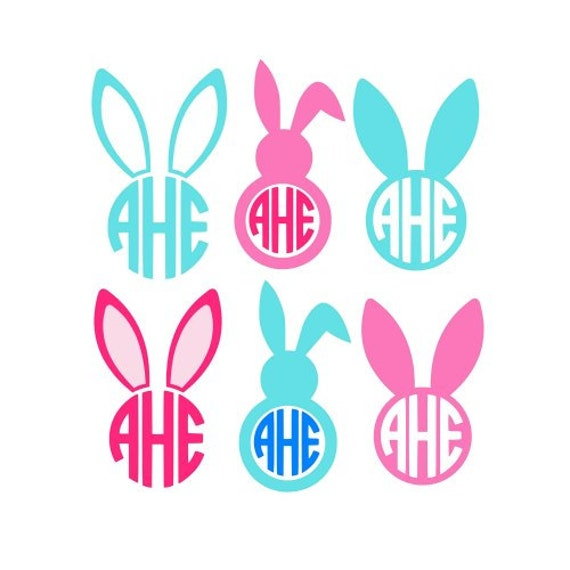 easter bunny svg easter bunny monogram svg circle monogram frames svg cricut cut files studio cut files