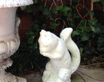 """Shabby Squirrel Statue Concrete Cement Weathered White Paint 13-1/2"""" Tall"""