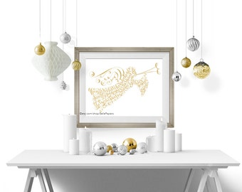 Christmas Angel Christmas Decoration Gold Angel Silver Angel Word Art Print Rose Gold Angels We Have Heard on High Calligraphy Holiday Decor