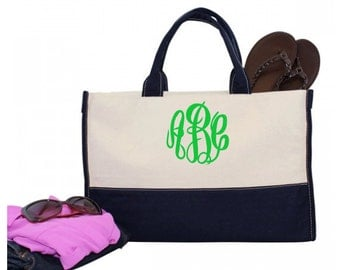 Monogram Canvas Utility Carry All Tote Bag - Personalized Canvas Utility Tote Bag - Monogrammed Vivera Tote - Monogrammed Canvas Tote Bag