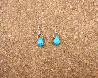 Small Turquoise Howlite Drop Earrings