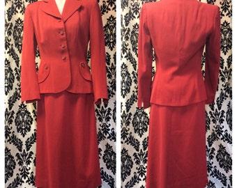FABULOUS 1940s Poppy Red Women's Suit