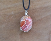 Snakeskin Agate Necklace, Agate Necklace, Natural Stone Necklace, Orange Agate Necklace, Snakeskin Stone, Agate Jewelry,