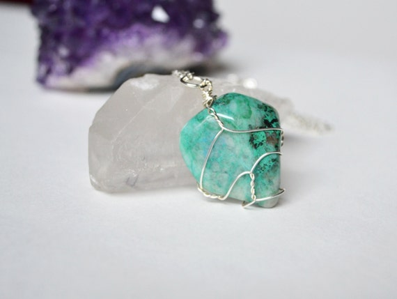 Quantum Quattro Necklace, Wire Wrapped Quantum Quattro Necklace, Tumbled Stone Jewelry, Rocks and Minerals, Crystal Energy, Chakra Necklace