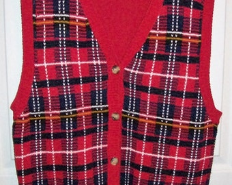Vintage Ladies Red Tartan Plaid Sweater Vest by La Scelta Large Only 6 USD
