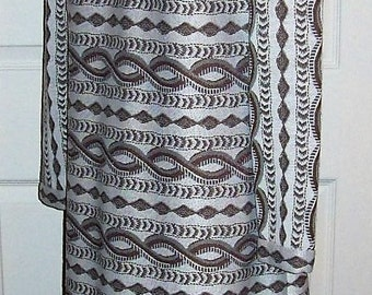 Vintage 1960s Ladies Brown & White Abstract Mod Dress by Leslie Fay Medium Only 10 USD