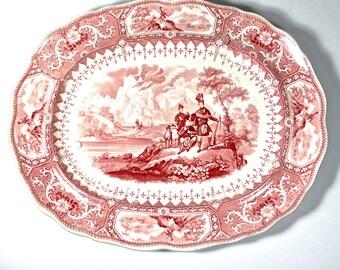 Antique Staffordshire Caledonia Red Transferware Scottish Hunting Platter, Antique Highland Transferware