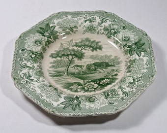1800s Aesops Fable Green Transferware Plate, The Lion The Bear and Fox Spode Transferware