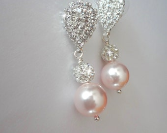 Pink pearl earrings ~ Chunky ~ Swarovski pearls and rhinestone fireballs ~ Bridal Jewelry, Brides earrings, Bridesmaids, Gift, LOLITA