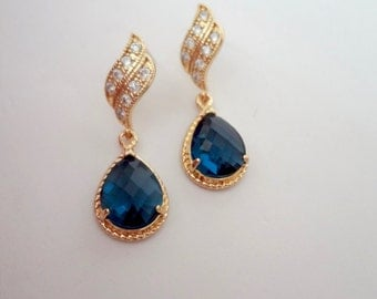 Gold and blue earrings - Czech glass teardrops - Bridal jewelry - Bridesmaids - Gold over sterling wave earrings -OUTSTANDING