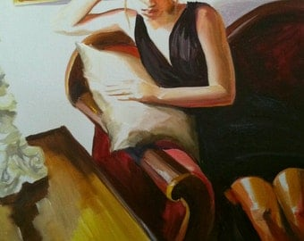 IN THOUGHT , Art Print of Original Oil Painting, figurative painting