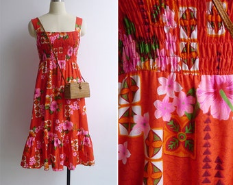 Vintage 60's Royal Hawaiian Tiki Dayglo Smocked Sun Dress XS S or M