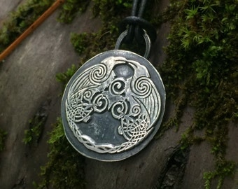Huginn and Muninn Viking Raven Pendant - Silver - Norse Jewelry - Pagan - Asatru