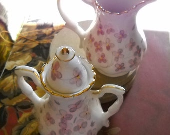 """Mini Cream&Sugar,Victorian Floral on Nice Porcelain, 3.5-4"""" high, Collectibles"""