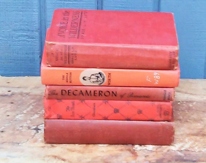 Antique Red Book Collection - Set of 5