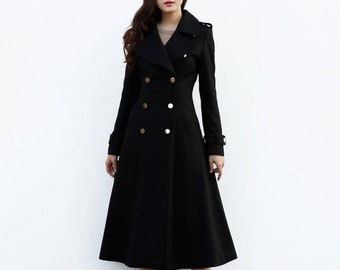 Black Coat / Long Wool Coat / Double Breasted Jacket / Military Coat / Winter Jacket - NC648