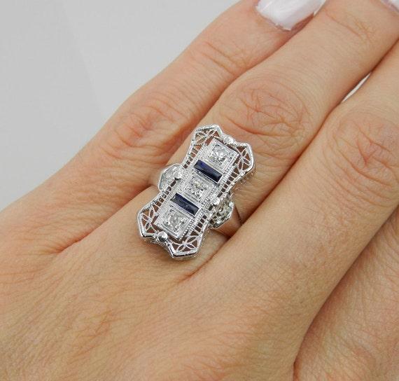 Diamond and Sapphire Ring Antique Art Deco 14K White Gold Filigree Cocktail Ring Circa 1920's Size 5.25