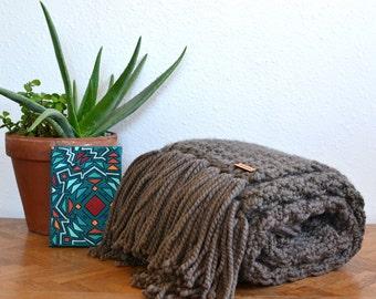 Chunky Knit Throw Blanket With Fringe // Boho Knit Throw With Fringe // Knit Throw Blanket // Throw Blanket // Throw Blanket With Fringe