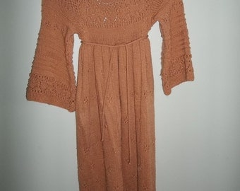 VINTAGE Hand Knit Peach Sweater Dress Size Small or Medium